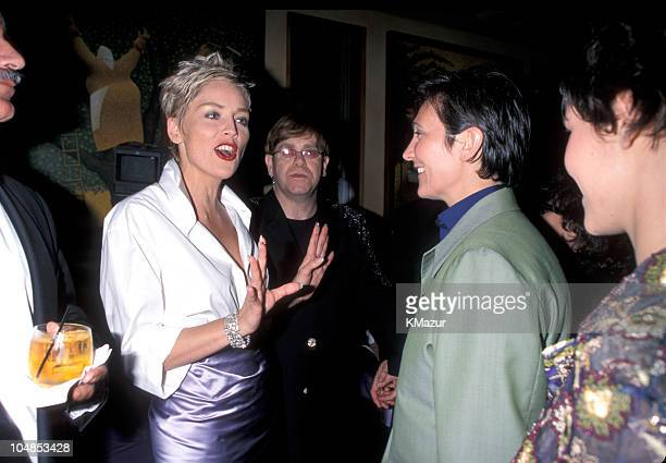 Sharon Stone Elton John and kd lang during The 70th Annual Academy Awards Elton John AIDS Foundation Party in Beverly Hills California United States