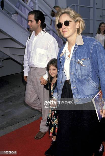 Sharon Stone goddaughter and Chris Peters during 'Aladdin' Benefit Premiere at El Captian Theater in Hollywood California United States
