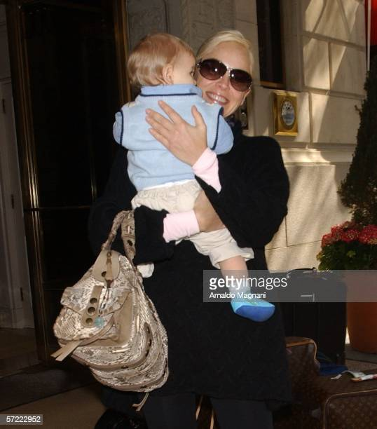 Sharon Stone holds her adopted baby Laird Vonne Stone as she leaves a midtown hotel March 31 2006 in New York City