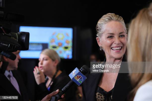 """Sharon Stone is interviewed on the red carpet at the """"Untitled: Dave Chappelle Documentary"""" Premiere during the 2021 Tribeca Festival at Radio City..."""