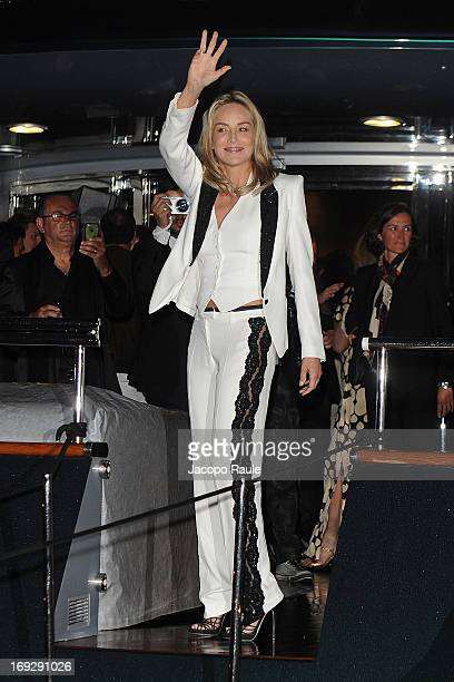 Sharon Stone is seen arriving at Roberto Cavalli's Party during The 66th Annual Cannes Film Festival on May 22 2013 in Cannes France