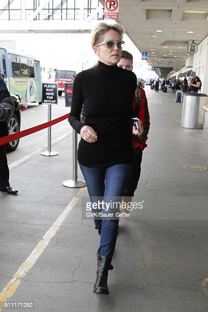 Sharon Stone is seen at LAX on February 18 2016 in Los Angeles California