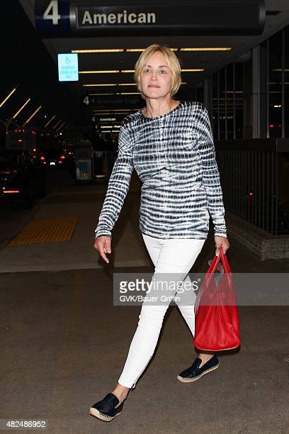 Sharon Stone is seen at LAX on July 30 2015 in Los Angeles California