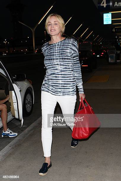Sharon Stone is seen at LAX on July 30, 2015 in Los Angeles, California.