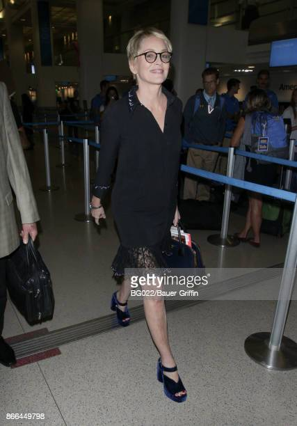 Sharon Stone is seen at LAX on October 25 2017 in Los Angeles California
