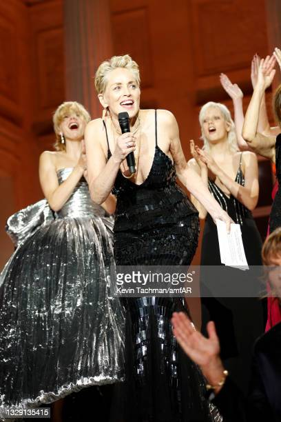 Sharon Stone is seen on stage during the amfAR Cannes Gala 2021 at Villa Eilenroc on July 16, 2021 in Cap d'Antibes, France.