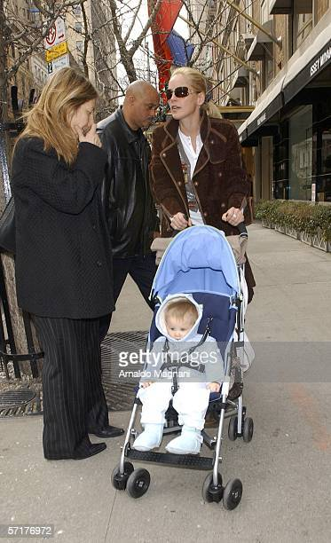 Sharon Stone is seen walking with her newly adopted baby boy Laird on Madison Ave on March 24 2005 in New York City Stone is currently in New York to...
