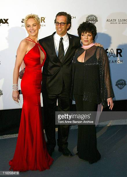 """Sharon Stone, Kenneth Cole and Liza Minnelli during amfAR's """"Cinema Against AIDS Cannes"""" Benefit Sponsored by Miramax and Quintessentially - Arrivals..."""