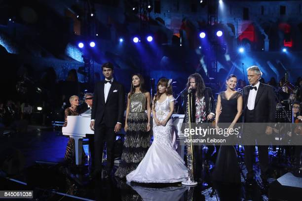 Sharon Stone Matteo Bocelli Sumi Jo Steven Tyler Aida Garifullina and Andrea Bocelli perform at the Andrea Bocelli show as part of the 2017 Celebrity...