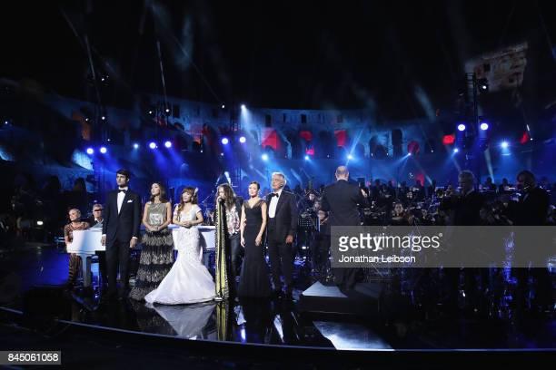 Sharon Stone, Matteo Bocelli, Sumi Jo, Steven Tyler, Aida Garifullina and Andrea Bocelli perform at the Andrea Bocelli show as part of the 2017...