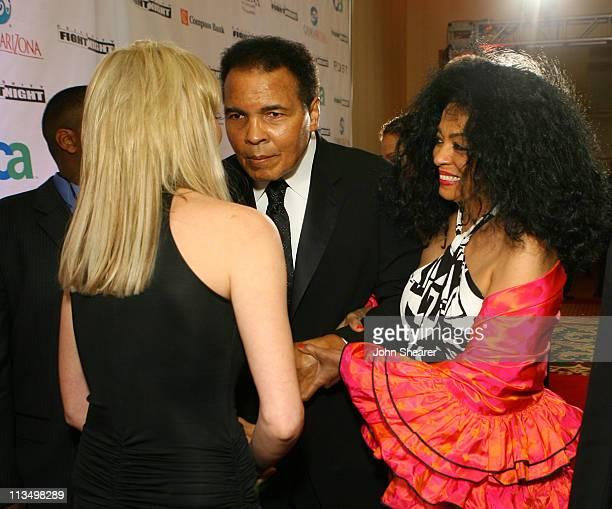 Sharon Stone Muhammad Ali and Diana Ross during Muhammad Ali's Celebrity Fight Night XIII Red Carpet at Marriot Desert Ridge Resort Spa in Phoenix...