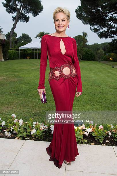 Sharon Stone poses for a portrait at amfAR's 21st Cinema Against AIDS Gala Presented By WORLDVIEW BOLD FILMS And BVLGARI at Hotel du CapEdenRoc on...