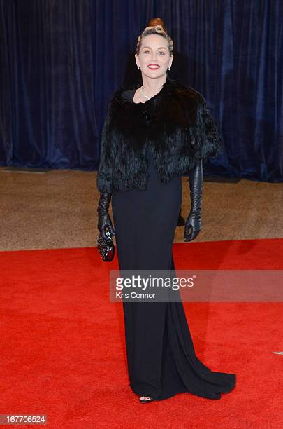 Sharon Stone poses on the red carpet during the White House Correspondents' Association Dinner at the Washington Hilton on April 27 2013 in...