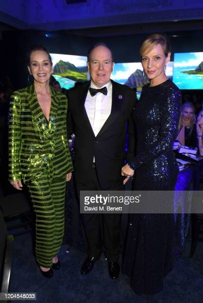 Sharon Stone Prince Albert II of Monaco and Uma Thurman attend the 2020 Hollywood For The Global Ocean Gala honoring HSH Prince Albert II of Monaco...