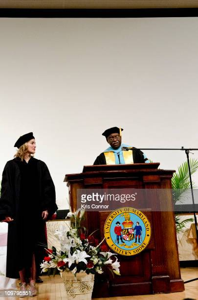 Sharon Stone receives a honorary doctorate during a private ceremony before the University of Maryland Eastern Shore's Gala on March 5 2011 in...