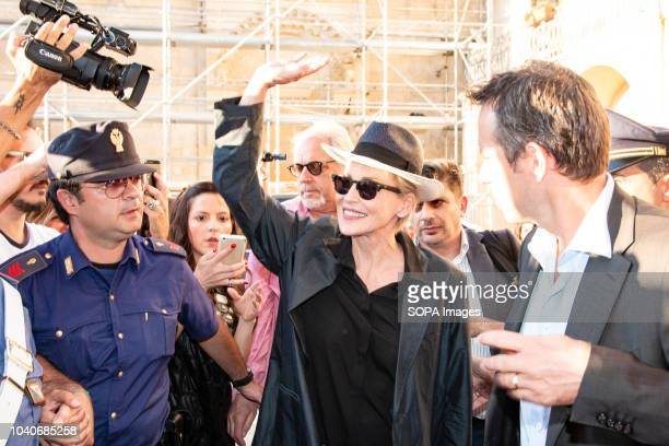 MATERA ITALY MATERA ITALY Sharon Stone seen waving to the fans during her visit to Matera The actress attended a fundraising charity dinner at the...