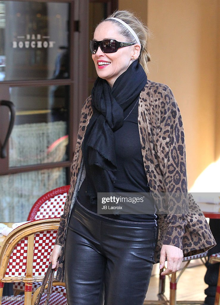 Sharon Stone sighted on January 18, 2012 in Beverly Hills, Los Angeles, California.