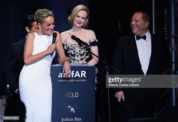 Sharon Stone speaks on stage with Nicole Kidman and Harvey Weinstein at amfAR's 20th Annual Cinema Against AIDS during The 66th Annual Cannes Film...