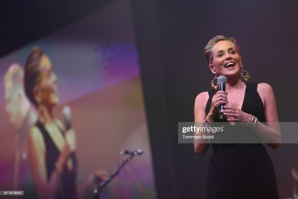 Sharon Stone speaks onstage at Steven Tyler and Live Nation presents Inaugural Janie's Fund Gala & GRAMMY Viewing Party at Red Studios on January 28, 2018 in Los Angeles, California.