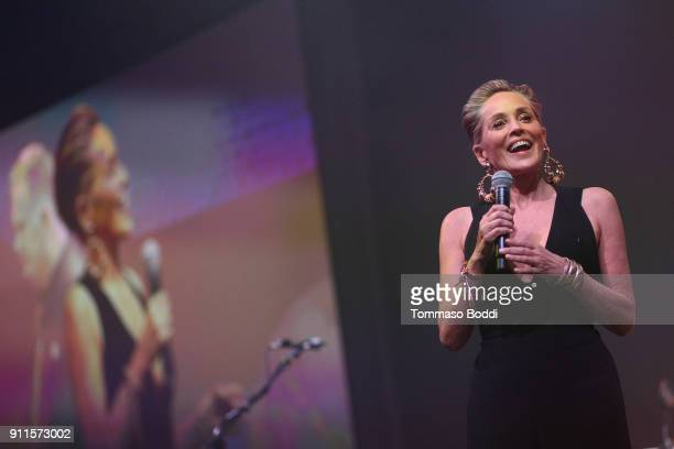 Sharon Stone speaks onstage at Steven Tyler and Live Nation presents Inaugural Janie's Fund Gala GRAMMY Viewing Party at Red Studios on January 28...