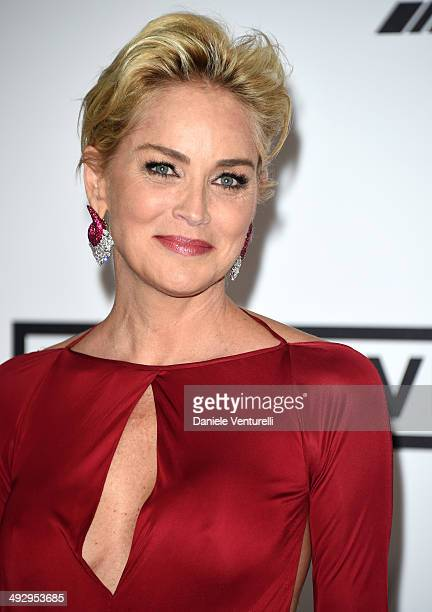 Sharon Stone wearing BVLGARI attends amfAR's 21st Cinema Against AIDS Gala Presented By WORLDVIEW BOLD FILMS And BVLGARI at Hotel du CapEdenRoc on...
