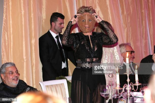 Sharon Stone with a mask during the The Charity Gala benefiting 'Planet Hope' foundation at Kempinski Grand Hotel des Bains on December 28 2017 in St...