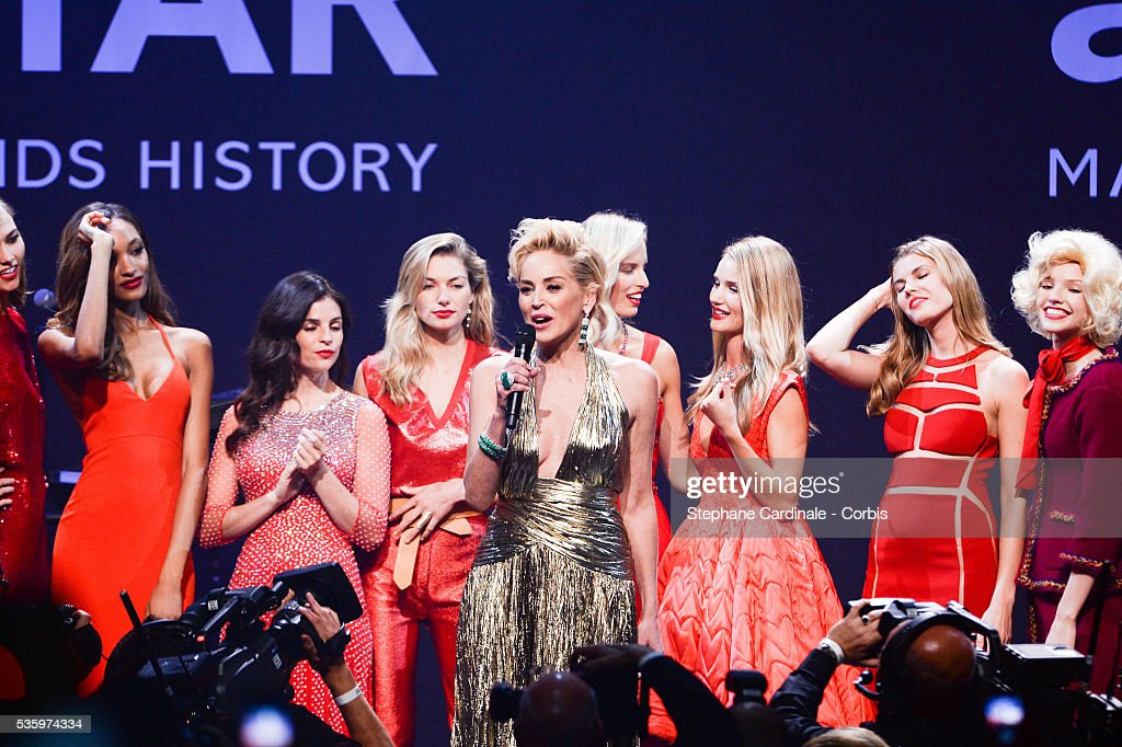 Sharon Stone with the models Ana Beatriz Barros, Alessandra Ambrosio, Karlie Kloss, Jordan Dunn, Julia Restoin Roitfeld, Jessica Hart, Karolina Kurkova, Rosie Huntington-Whiteley at the amfAR's 21st Cinema Against AIDS Gala at Hotel du Cap-Eden-Roc during the 67th Cannes Film Festival