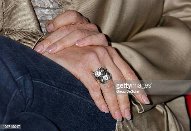 Sharon Stone's ring during LG Underwites Sharon Stone's 'Come Together Now' Charitable Music Video at Cinegrill Hollywood Roosevelt Hotel in...