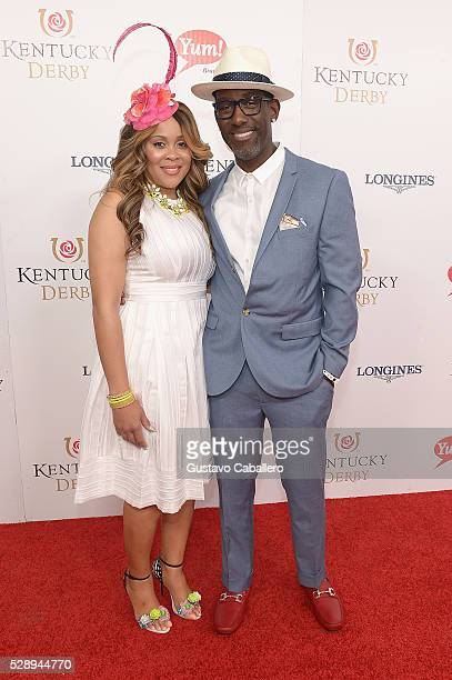 Sharonda Jones and singer Shawn Stockman of Boys II Men attend the 142nd Kentucky Derby at Churchill Downs on May 07 2016 in Louisville Kentucky