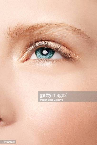 sharp close up of beautiful blue - green eyes - skin texture stock pictures, royalty-free photos & images