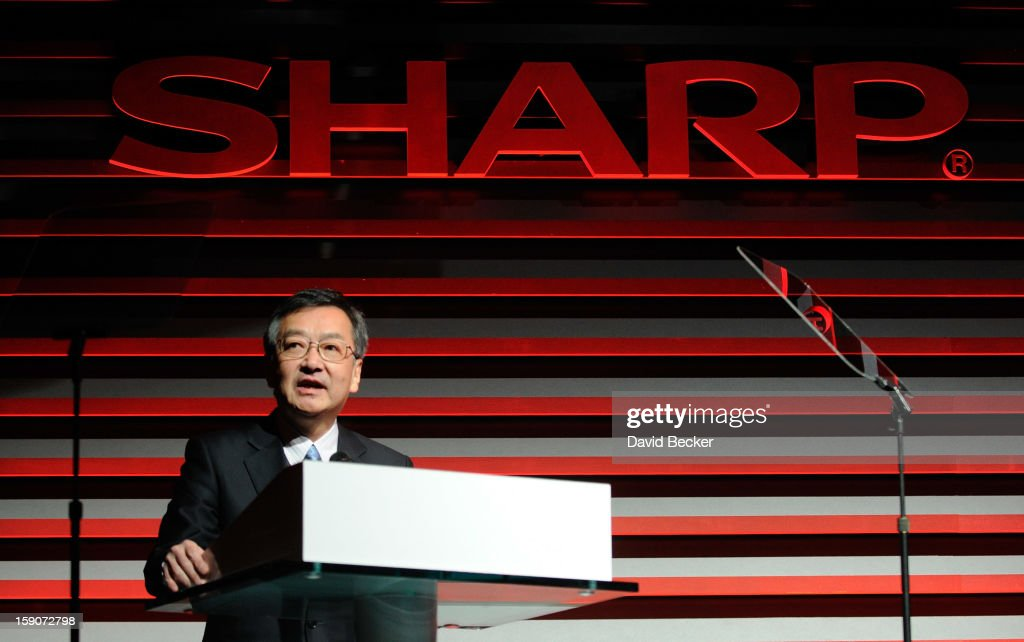 Sharp Corporation Representative Director and Executive Vice President Kozo Takahashi speaks at a press event at the Mandalay Bay Convention Center for the 2013 International CES on January 7, 2013 in Las Vegas, Nevada. CES, the world's largest annual consumer technology trade show, runs from January 8-11 and is expected to feature 3,100 exhibitors showing off their latest products and services to about 150,000 attendees.