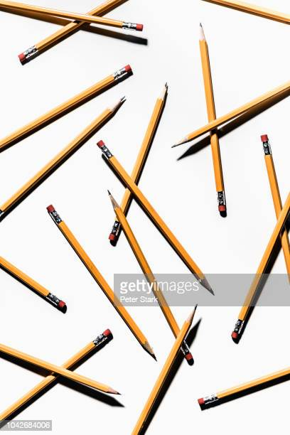 sharp pencils on white background - pencil stock pictures, royalty-free photos & images