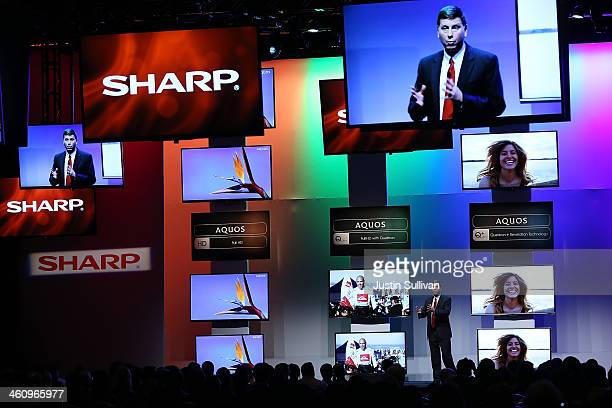 Sharp senior vice president of marketing Jim Sanduski talks about the new line of the Sharp Aquos televisions during a press event at the Mandalay...