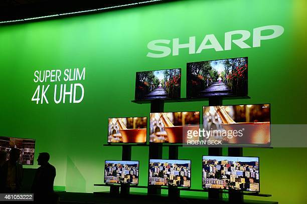 Sharp Super Slim 4K UHD televisions at the Sharp press conference at 2015 Consumer Electronics Show in Las Vegas Nevada January 5 2015 AFP PHOTO /...
