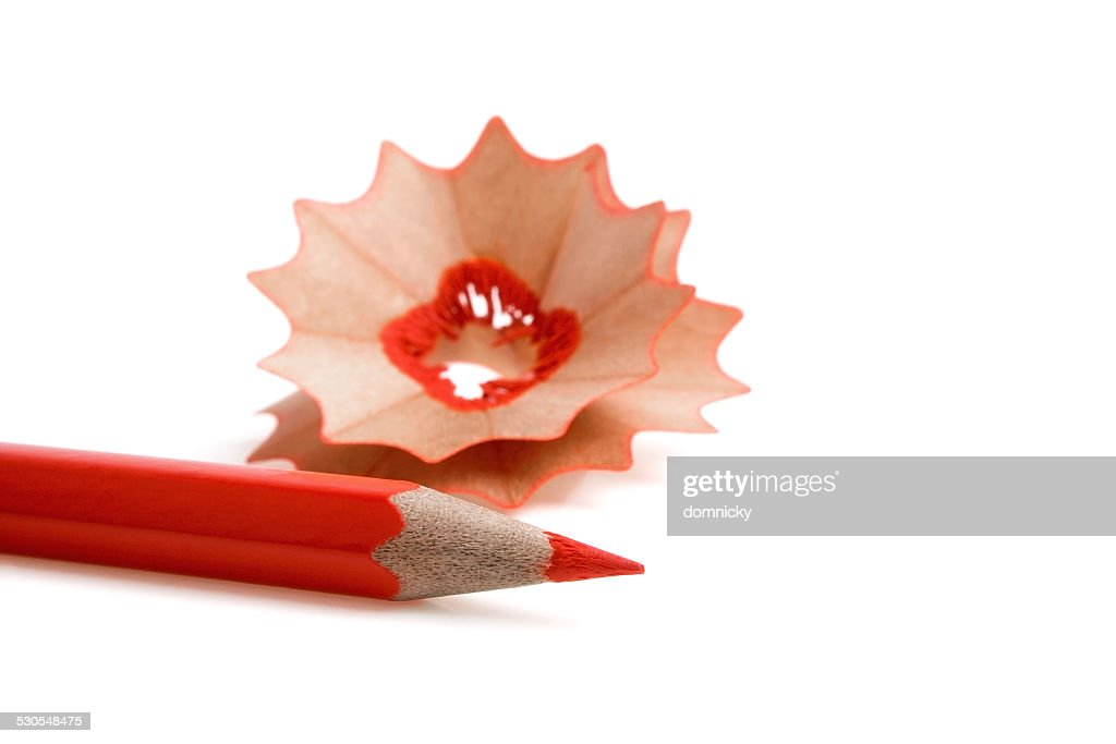 Sharpened Color Pencils And Wood Shavings Stock Photo