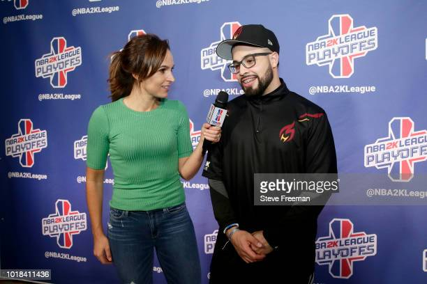 sharpshooterlos of the Heat Check Gaming talks with media after the game against the Pistons Gaming Team during the NBA 2K League Playoffs on August...