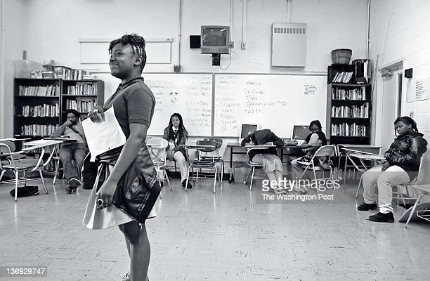 Sharri Barnes reads a poem she wrote during DC Creative Workshop at Hart Middle School May 18 in Washington DC