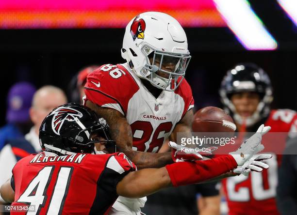 Sharrod Neasman of the Atlanta Falcons defends on this pass intended for Ricky Seals-Jones of the Arizona Cardinals at Mercedes-Benz Stadium on...