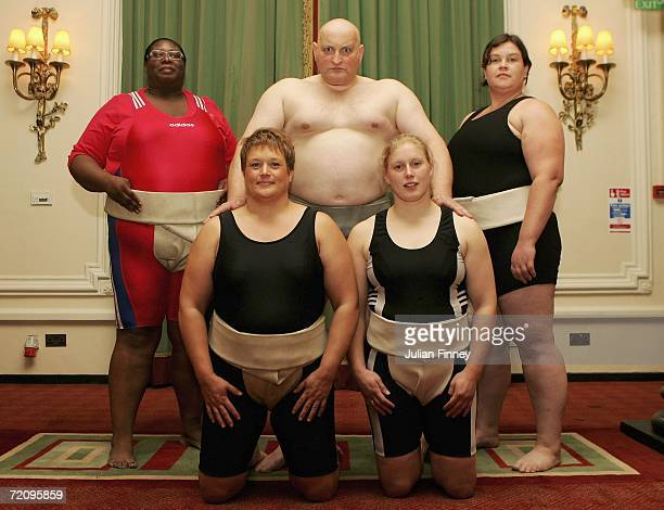 Sharron Alexander Adele Jones Steve Pateman the President of the British Sumo Federation Becky 'Pink' Williams and Katy Hathaway form the team that...