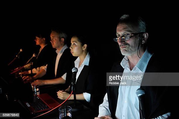 Sharron Devine as UN Lawyer 3Tom Freeman as UN Lawyer 2 Alisa Anderson as UN Lawyer 1 and Nick Cheales as UN Lawyer 4 in David Leddy's Horizontal...
