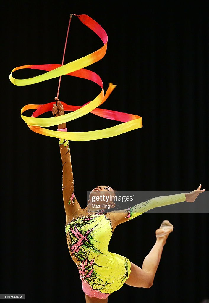 Shasangari Sivaneswary of Malaysia competes in the Women's Rhythmic Gymnastics during day four of the Australian Youth Olympic Festival at Sydney Olympic Park Sports Centre on January 19, 2013 in Sydney, Australia.