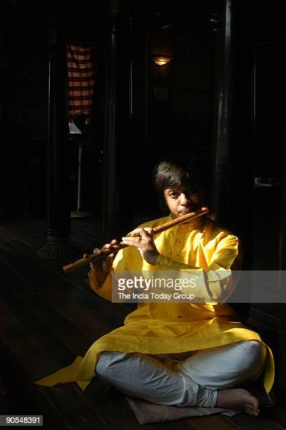 Shashank youngest Bamboo flutist at his residence in Chennai Tamil Nadu India