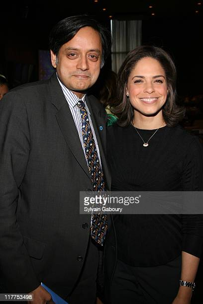 Shashi Tharoor and Soledad O'Brien during The Virtue Foundation hosted a Mukhtar Mai interview by CNN's Soledad O'Brien at United Nations in New York...