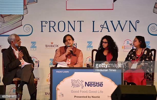Shashi Tharoor Nandana Sen Ruchira Gupta speak at 'Nanhi Kali Nutrition and the Girl Child' session at the ZEE ZEE Jaipur Literature Festival 2017 on...