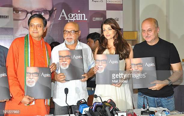 Shashi Tharoor poet Pritish Nandy and Bollywood actors Aishwarya Rai Bachchan and Anupam Kher unveil Nandy�s book of poems 'Again' in Mumbai on May...