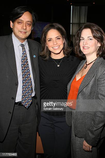 Shashi Tharoor Soledad O'Brien and Joan Larovere during The Virtue Foundation hosted a Mukhtar Mai interview by CNN's Soledad O'Brien at United...