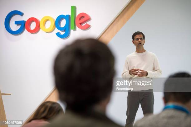 Ben Gomes head of search for Google Inc center listens during a 20th anniversary event in San Francisco California US on Monday Sept 24 2018 The...