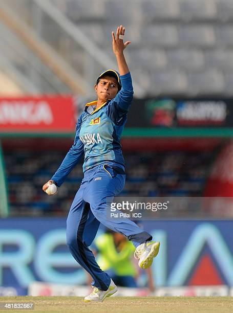 Shashikala Siriwardena captain of Sri Lanka bowls during the ICC Women's World Twenty20 match between Bangladesh Women and Sri Lanka Women played at...