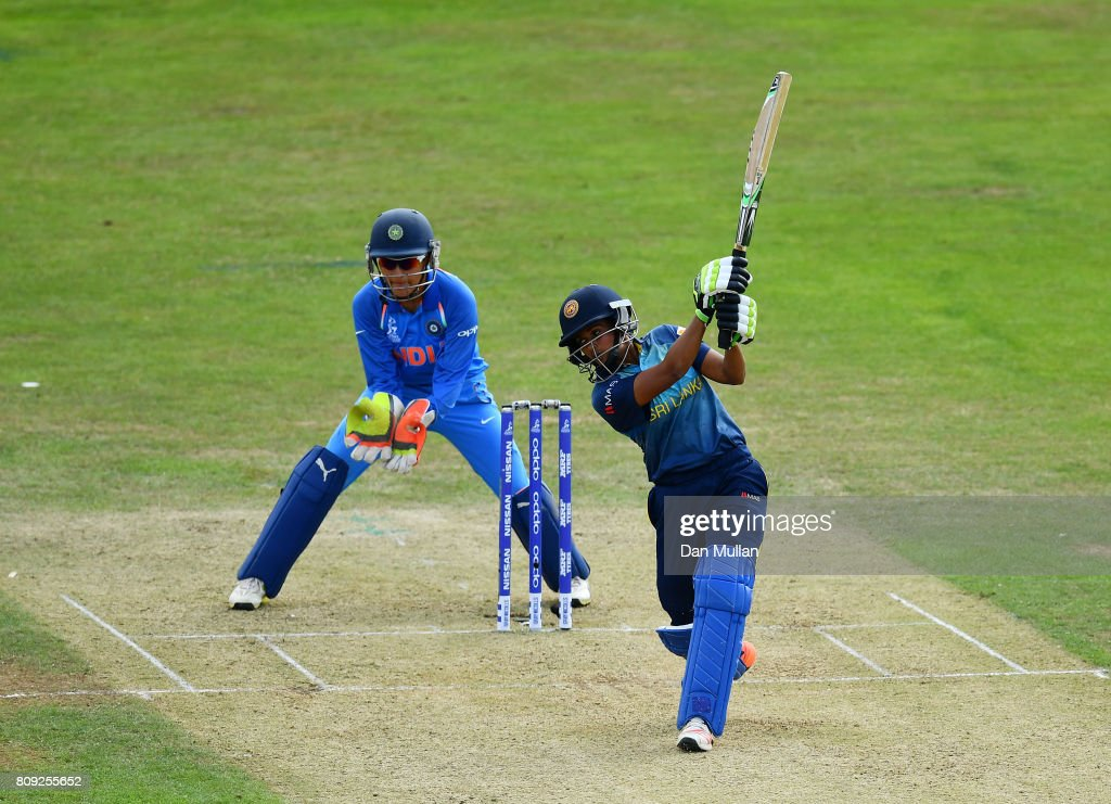 Shashikala Siriwardena of Sri Lanka bats during the ICC Women's World Cup 2017 match between Sri Lanka and India at The 3aaa County Ground on July 5, 2017 in Derby, England.