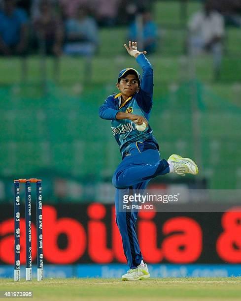 Shashikala Siriwardena of Sri Lanka bowls during the ICC Women's World Twenty20 playoff match 1 between New Zealand Women and Sri Lanka Women played...